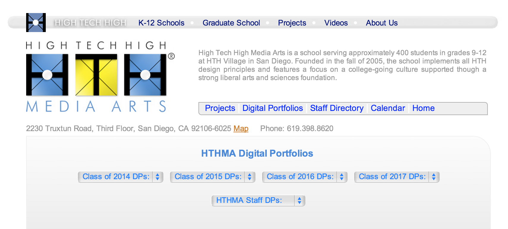 Digital portfolios at High Tech High For Teacher and Students.